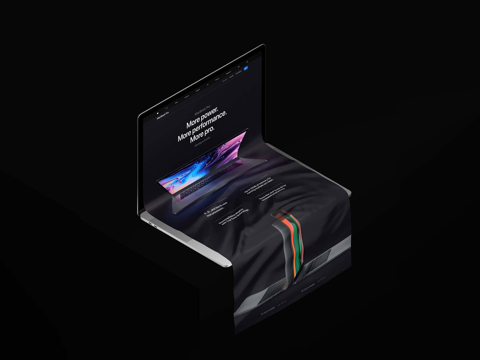 Free MacBook Long Scroll Mockup (PSD)