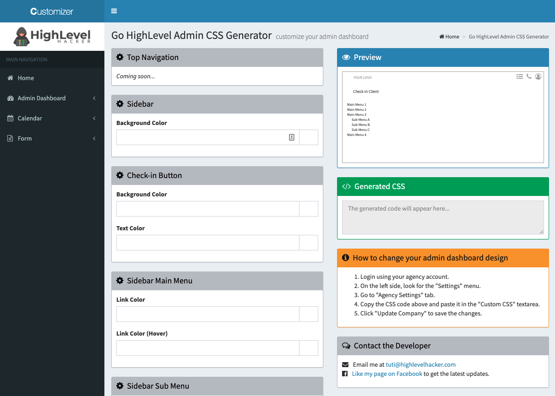 Highlevel Hacker – Go HighLevel Admin CSS Generator