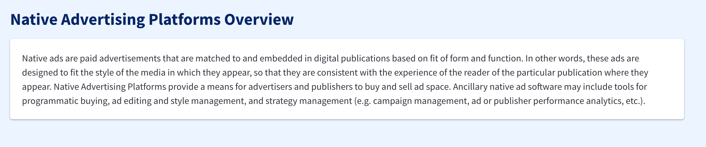 Native Advertising Platforms Overview