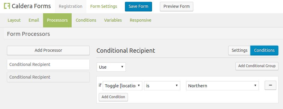 Using The Conditional Recipients Processor – WordPress Form Builder | Caldera Forms