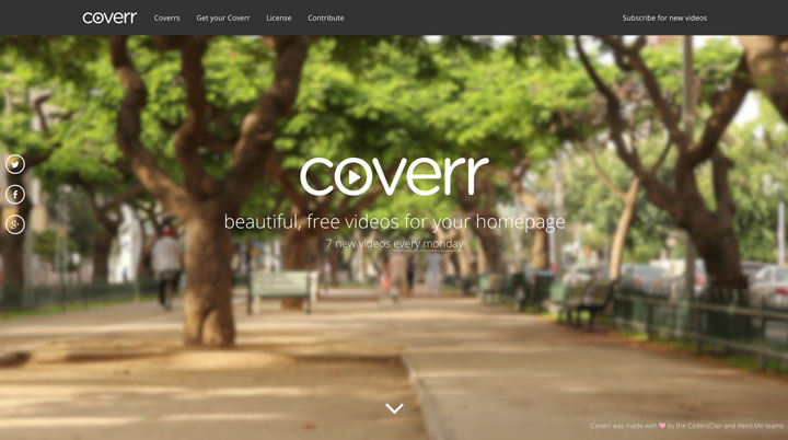Coverr – Beautiful, free videos for your homepage