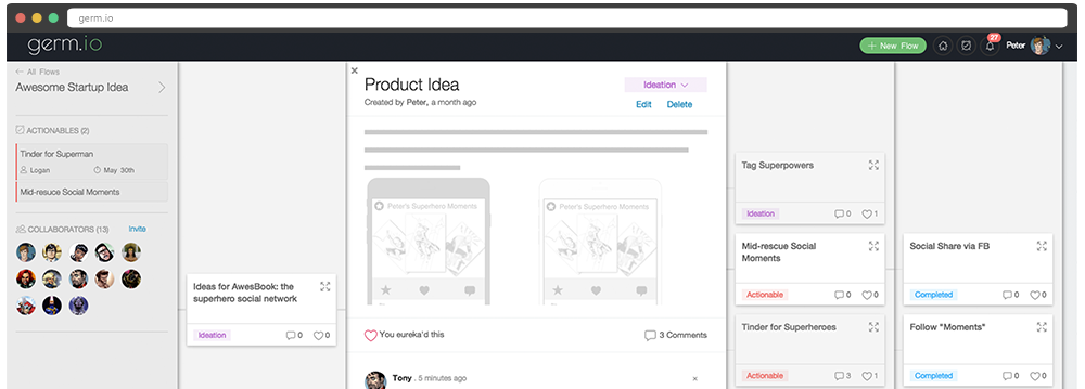 germ.io: capture ideas, brainstorm and turn them into actionable project plans