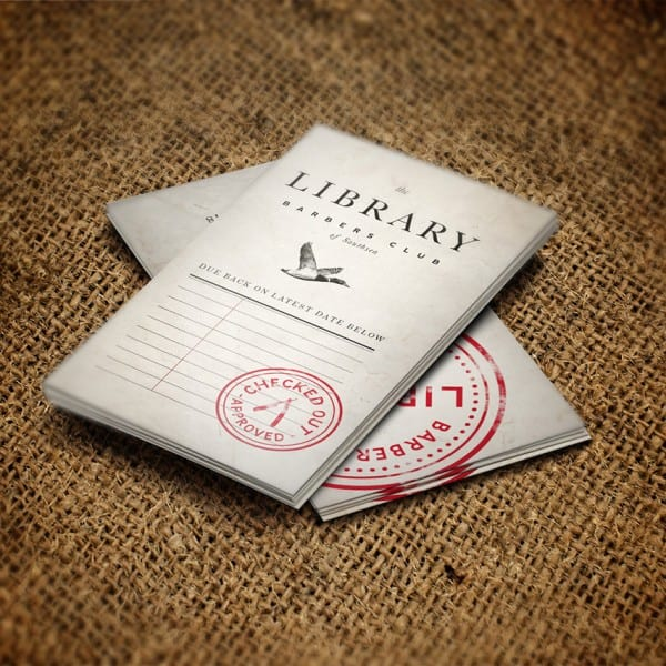 The Library Barbers Club, appointment cards, graphic design, branding