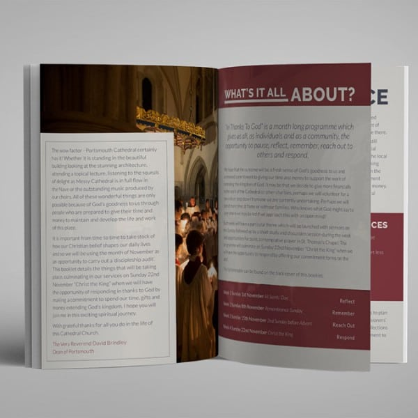 Portsmouth Cathedral, A5 informational booklet. Graphic design, layout