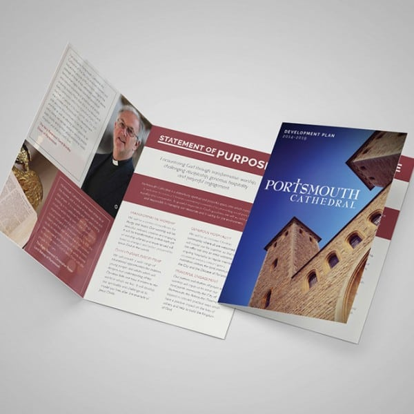 Portsmouth Cathedral, A5 folded leaflet. Graphic design, layout