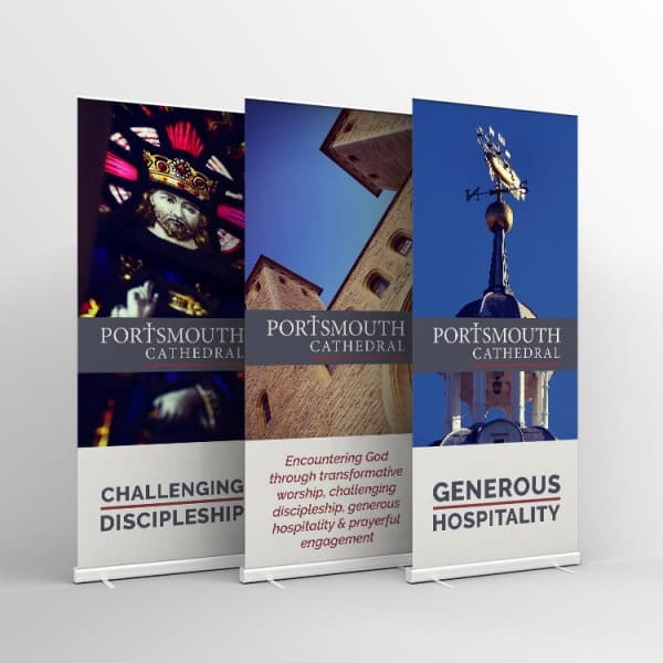 Portsmouth Cathedral, graphic design, roller banners