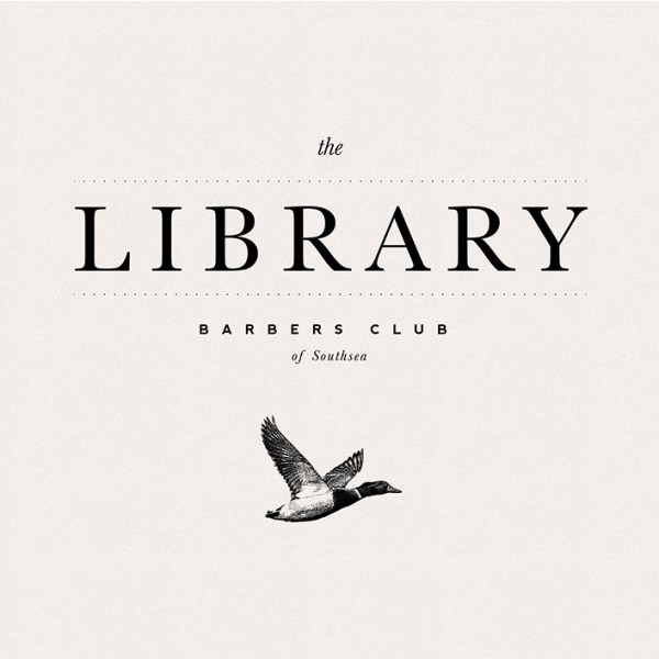 The Library Barbers, logo, branding assets, graphic design