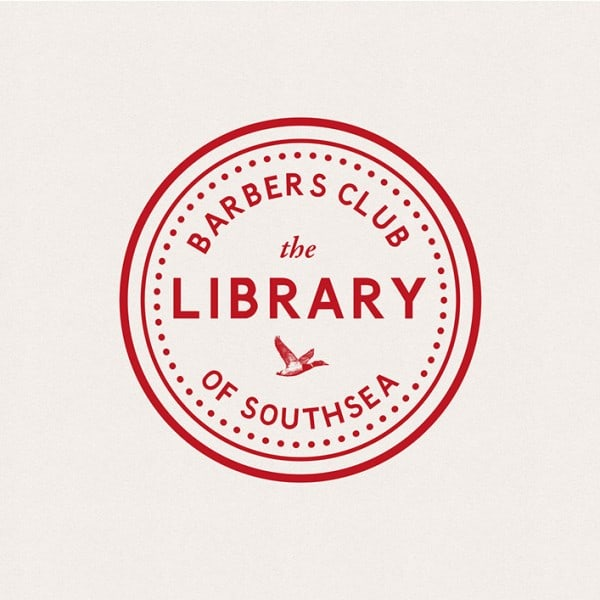 The Library Barbers Club, stamp, graphic design, branding