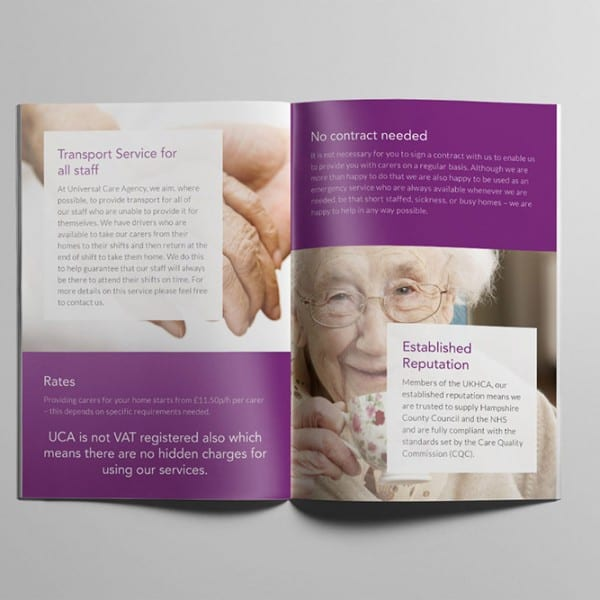 Universal Care Agency, promotional booklet