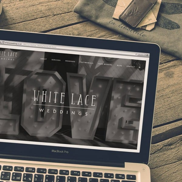 White Lace Weddings, web design, branding