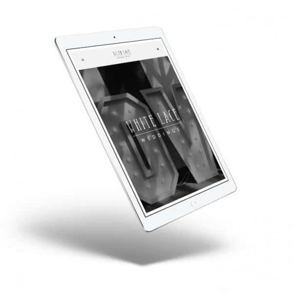 White Lace Weddings, responsive website design, iPad