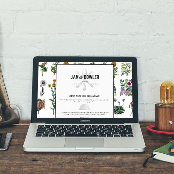 Jam & Bowler Breakfast Rooms, website landing page design
