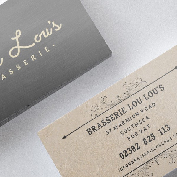 Lou Lou's Brasserie Southsea, restaurant business card design. Graphic design.