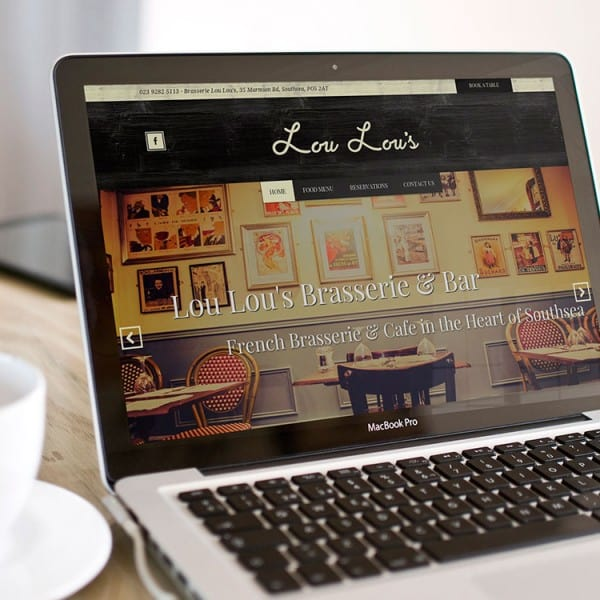 Lou Lou's Brasserie Southsea, restaurant website design