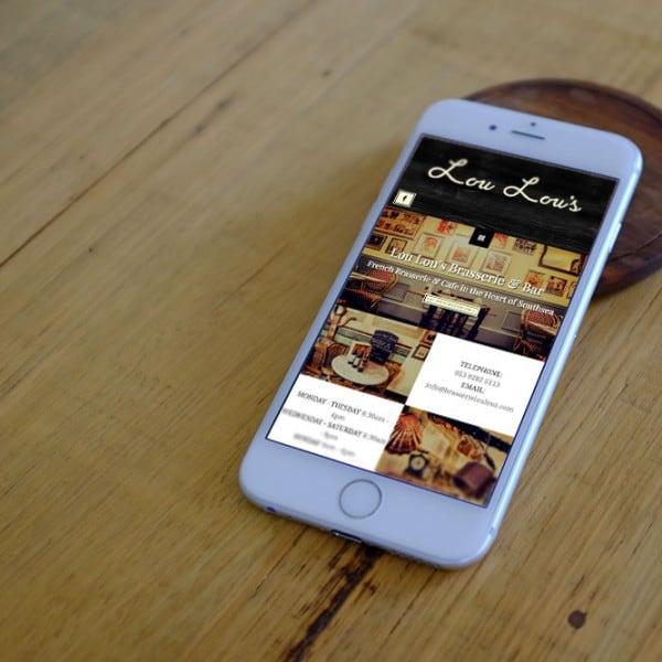 Lou Lou's Brasserie Southsea, restaurant mobile responsive website design