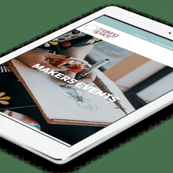 Making Space, responsive website design. Tablet