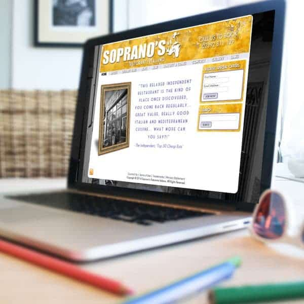 Soprano's Southsea website design homepage