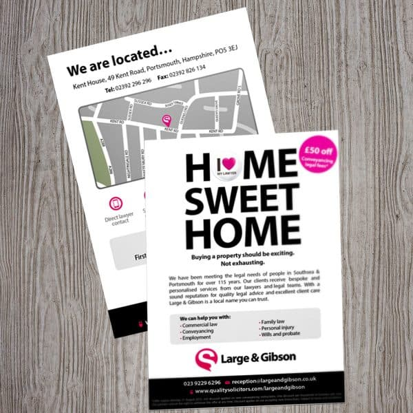 Large & Gibson Quality Solicitors flyer printing