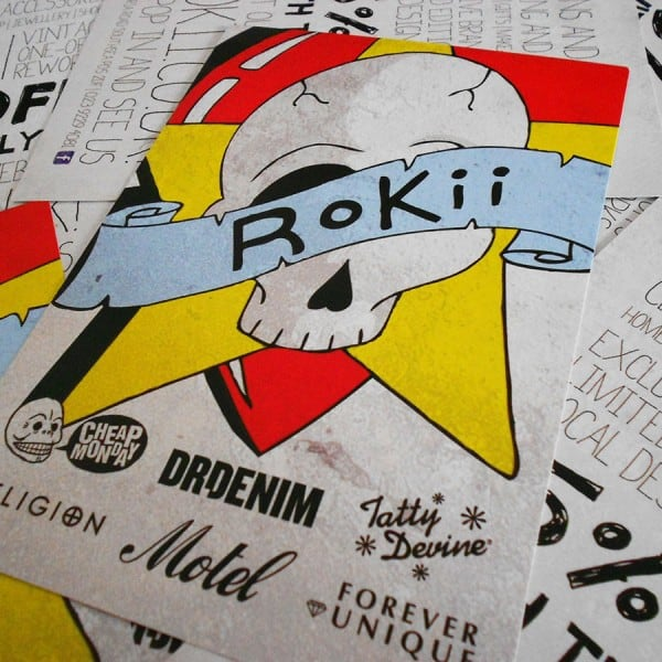 Rokii clothing shop flyer graphic design