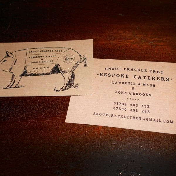 Snout Crackle Trot Bespoke Caterers branding business card design