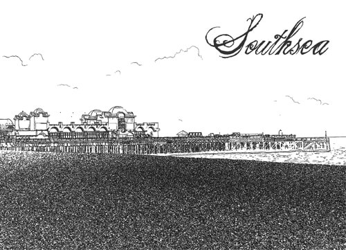Southsea The Pier graphic design print