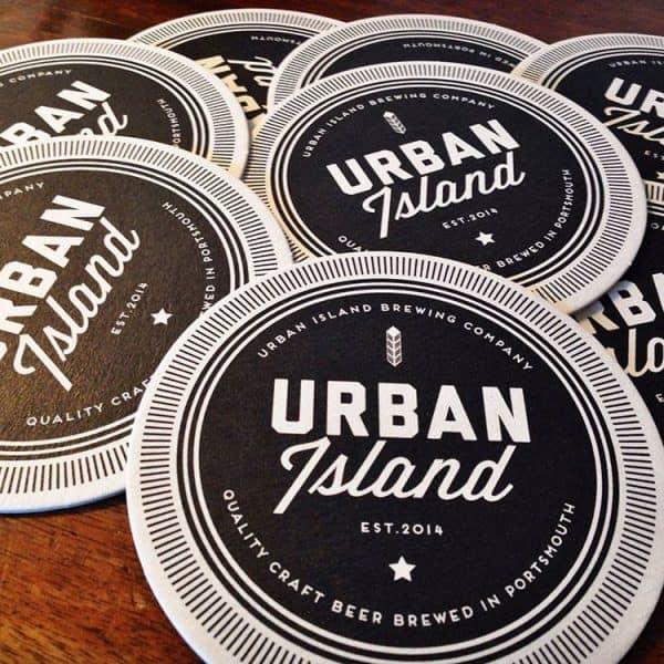 Urban Island Beer Mats logo branding