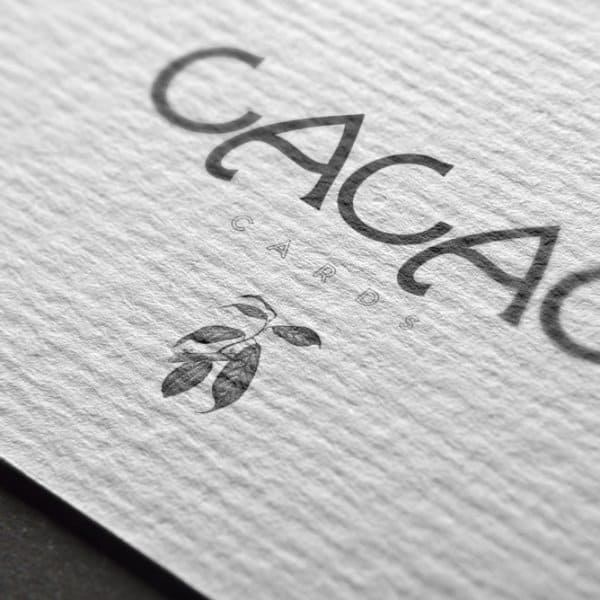 cacao cards logo design on textured paper, branding