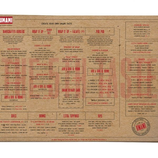 Umami Street Food Portsmouth menu