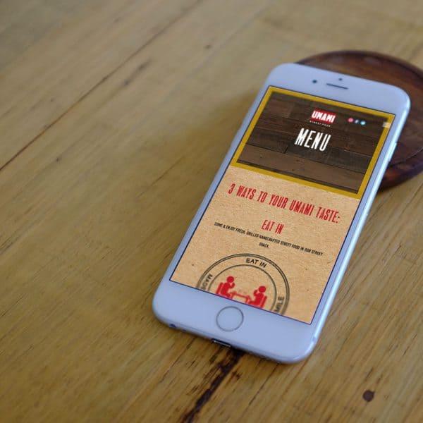 umami website on mobile phone