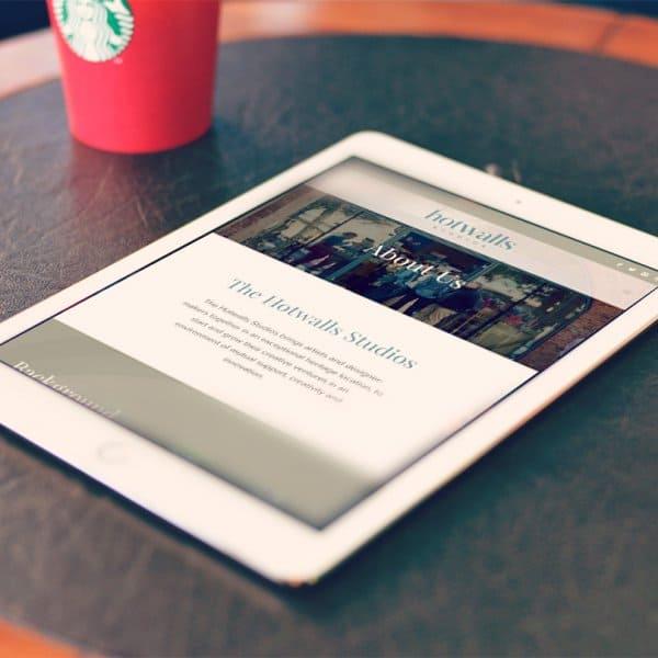 Hotwalls Studios, Portsmouth, website design, on iPad