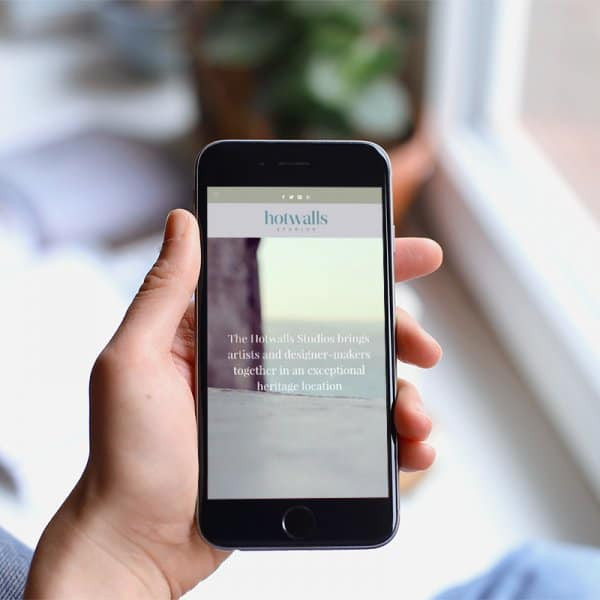 Hotwalls Studios, Portsmouth, website design, homepage on iphone
