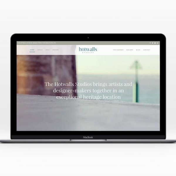 Hotwalls Studios, Portsmouth, website design, homepage on macbook