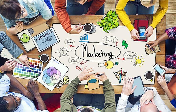marketing at a table